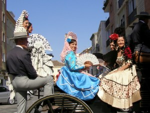 Goyesca Ladies en route to the Plaza de Toros