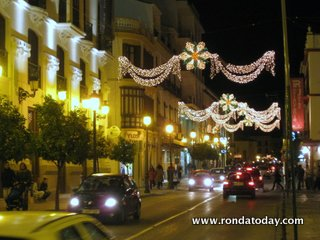 Christmas Lights and Shop Windows in Ronda