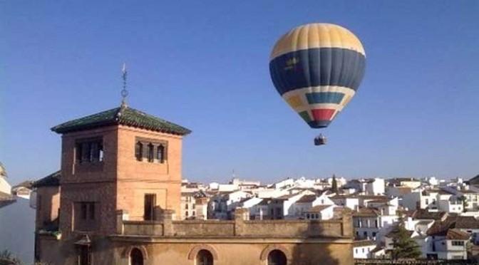 Hot air balloon over Ronda