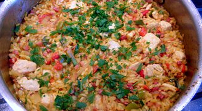 Chicken Paella Recipe with Iberian Ham