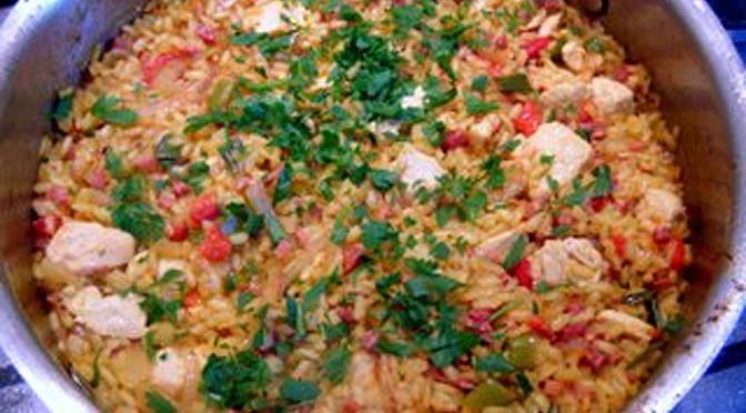 chicken paella with iberian ham recipe